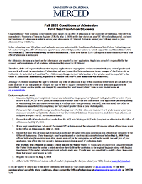 Fall 2020 First Year Conditions of Admission thumbnail