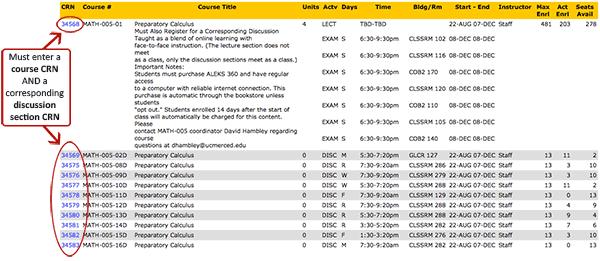 Registering for Math 5 screenshot