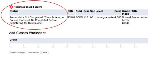 Prerequisite Error Details