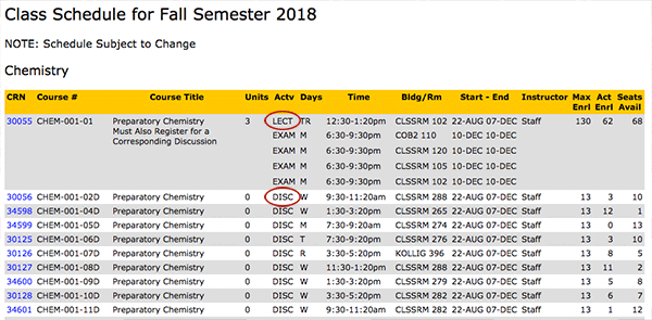 Class Schedule Screenshot